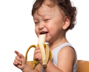 Child with banana.